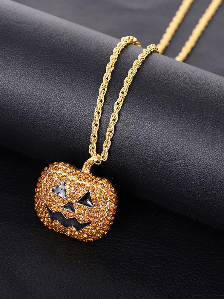 Halloween Trendy Hip Hop Pumpkin-shape Inlaid Zircon Alloy Necklace