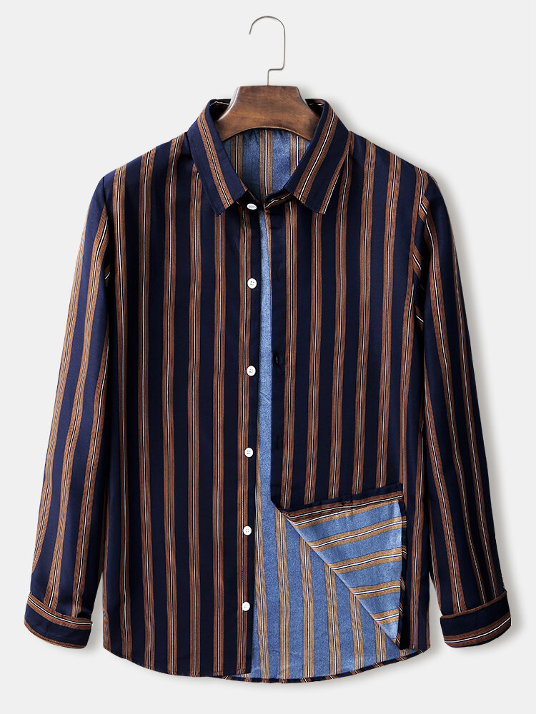 Mens Plain Striped Button Up Loose Fit Light Casual Long Sleeve Shirts
