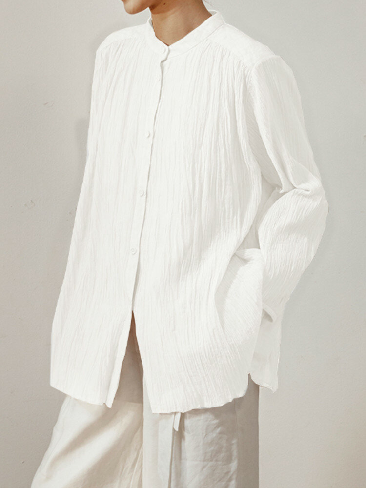 Casual Solid Color Pleated Long Sleeve Plus Size Shirt For Women
