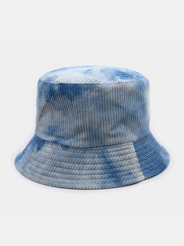 Women & Men Double-sided Tie-dye Corduroy And Cotton Warm Soft Outdoor Casual All-match Bucket Hat