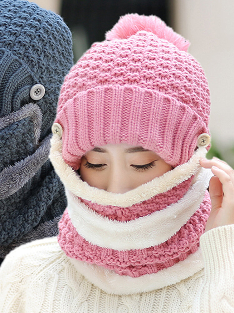 Women Winter Warmer Knitted Face Hat And Neck Collar Scarves Set With Artificial Fur Pompom Hat