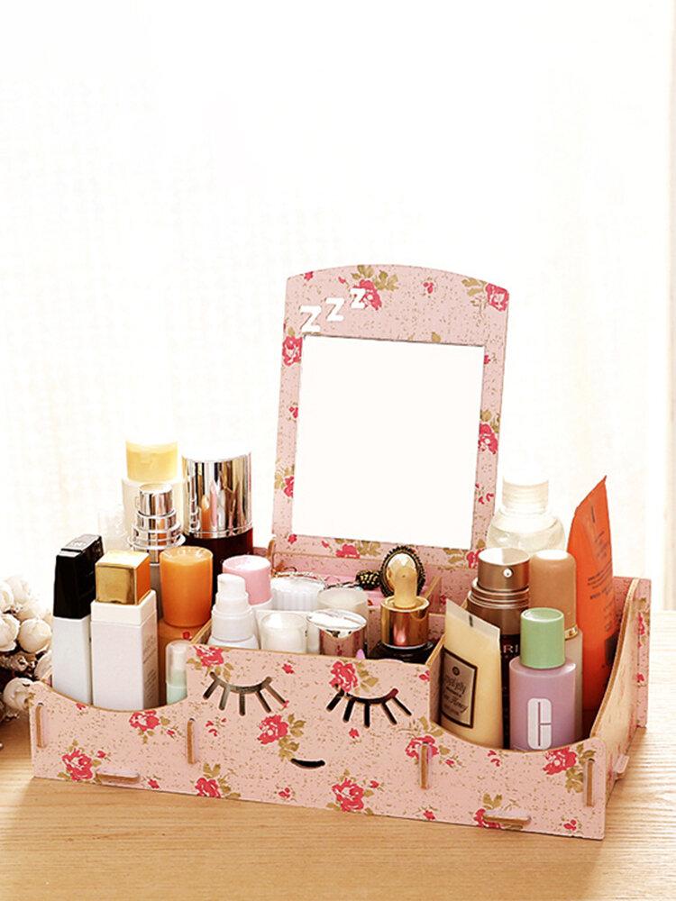 Creative Diy Wooden Cosmetic Storage Box Desktop Storage Container With Mirror