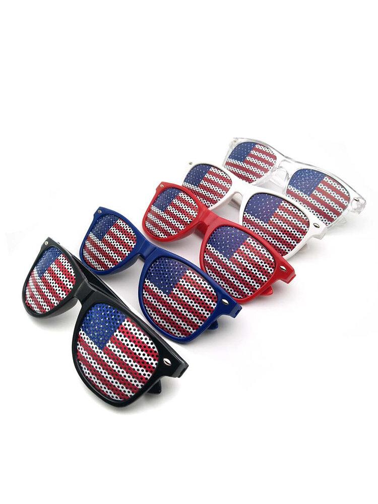 العلم الأمريكي US تصميم وطني نظارات مصراع بلاستيك نظارات شمسية لتزيين حفلات عيد الاستقلال