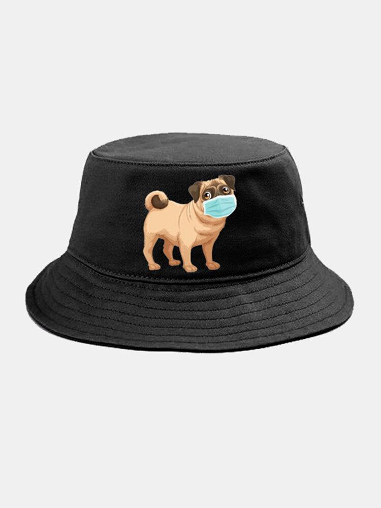 Cartoon Animals Quarantined Hat Isolated Pattern Hat Cotton Bucket Cap