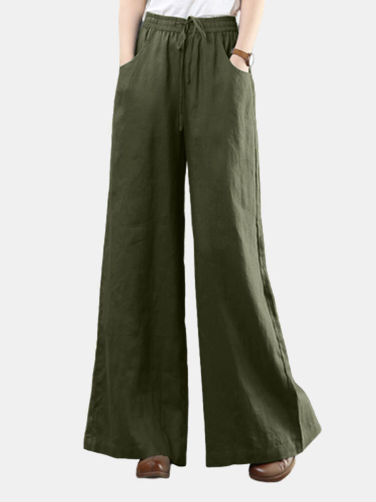 Casual Loose Drawstring Plus Size Wide Leg Pants