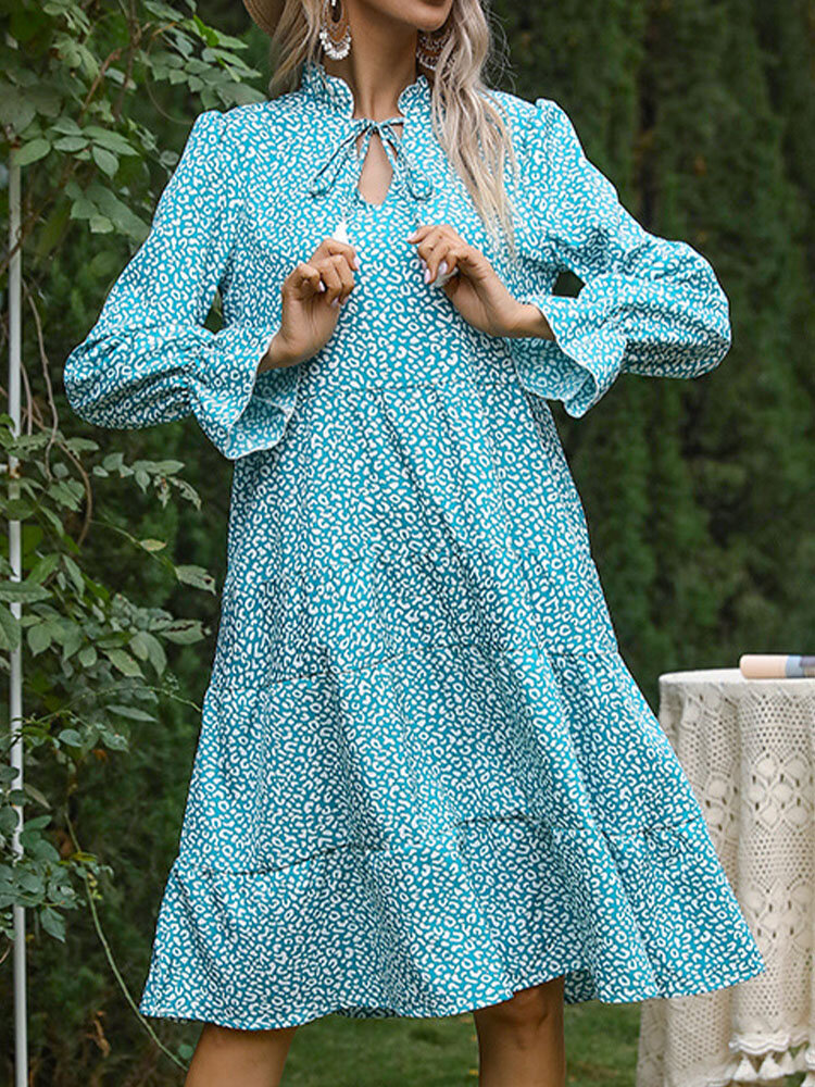 Leopard Print Fungus V-neck Knotted Long Sleeve Dress