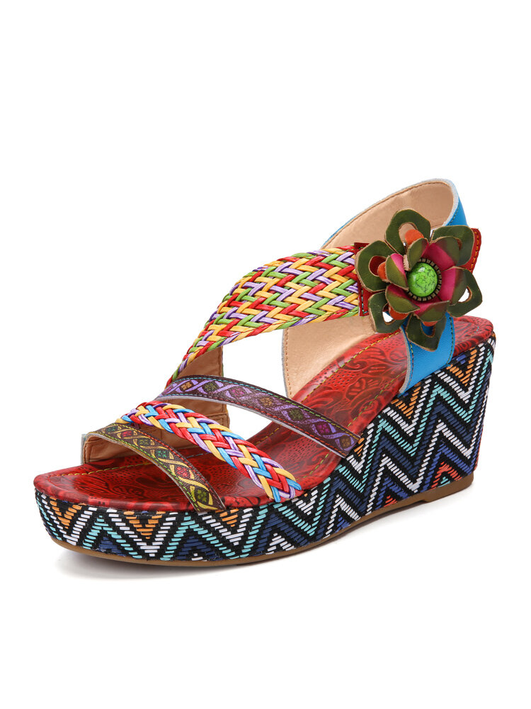 Socofy Retro Ethnic Woven Genuine Leather Bohemian Flower Decor Color Block Comfy Hook Loop Wedge Sandals