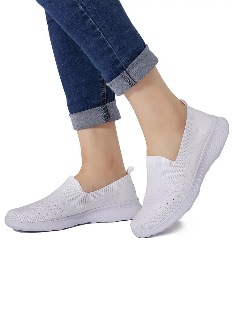 Women Casual Walking Lightweight Breathable Mesh Hollow Slip On Shoes