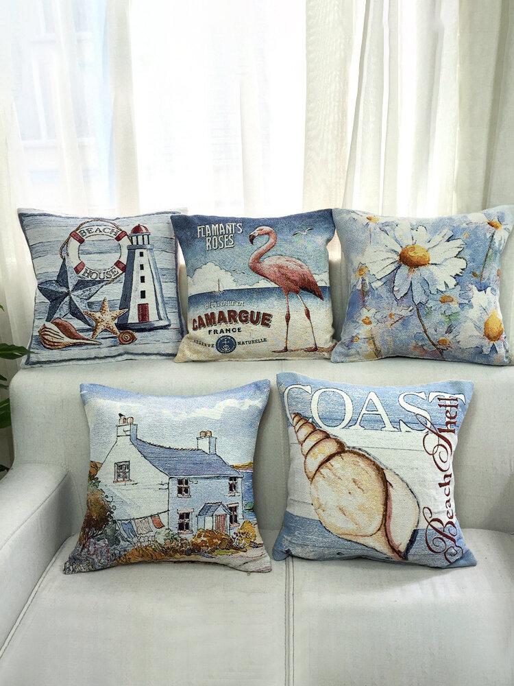 Vintage Mediterranean Style Beach Daisy Pattern Linen Cotton Cushion Cover Home Sofa Pillowcases