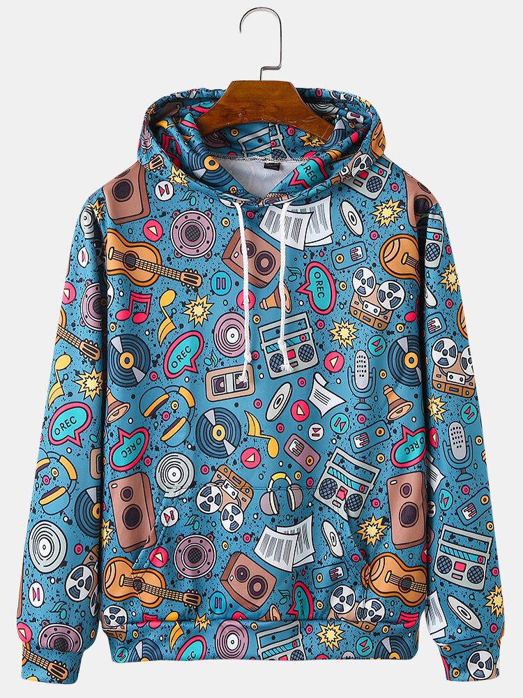 Mens Cartoon Music Pattern Print Relaxed Fit Drawstring Hoodies With Muff Pocket
