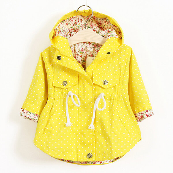 Spring Autumn Toddler Girl Jackets Coats Hooded Windbreaker For 1Y-7Y