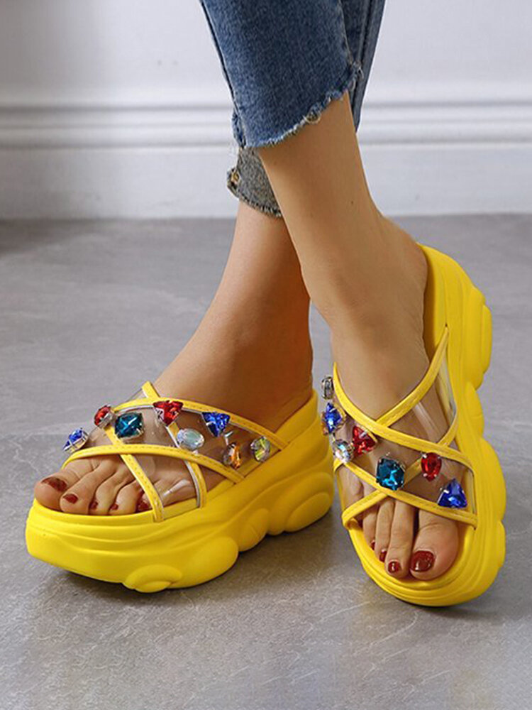 Women Colorful Rhinestone Cross Transparent Band Comfy Wearable Casual Platform Slippers