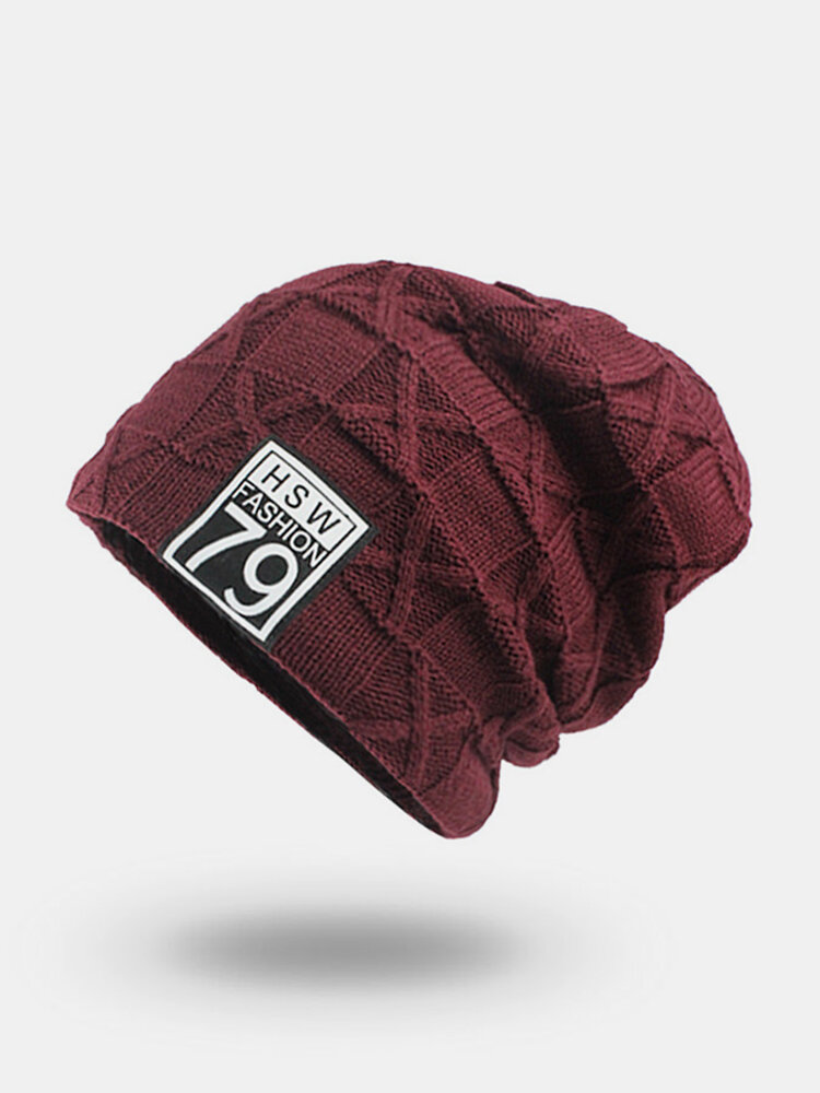 Mens Vogue Wool Velvet Knitted Hat Warm Good Elastic Hat Winter Outdoor Casual Beanie