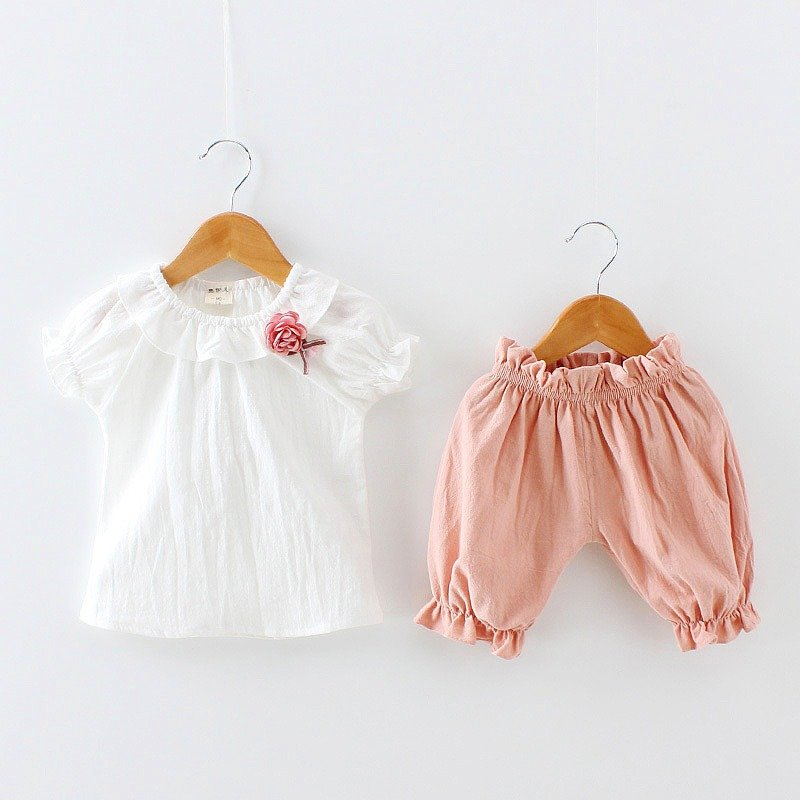 Soft Cotton Toddlers Girls Clothing Set Kids White Shirts + Shorts Pants For 1Y-7Y