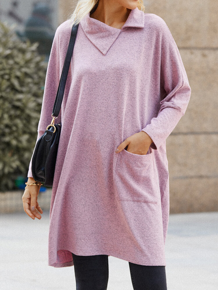 Solid Color Long Sleeve Lapel Collar Knitted Woolen Dress for Women