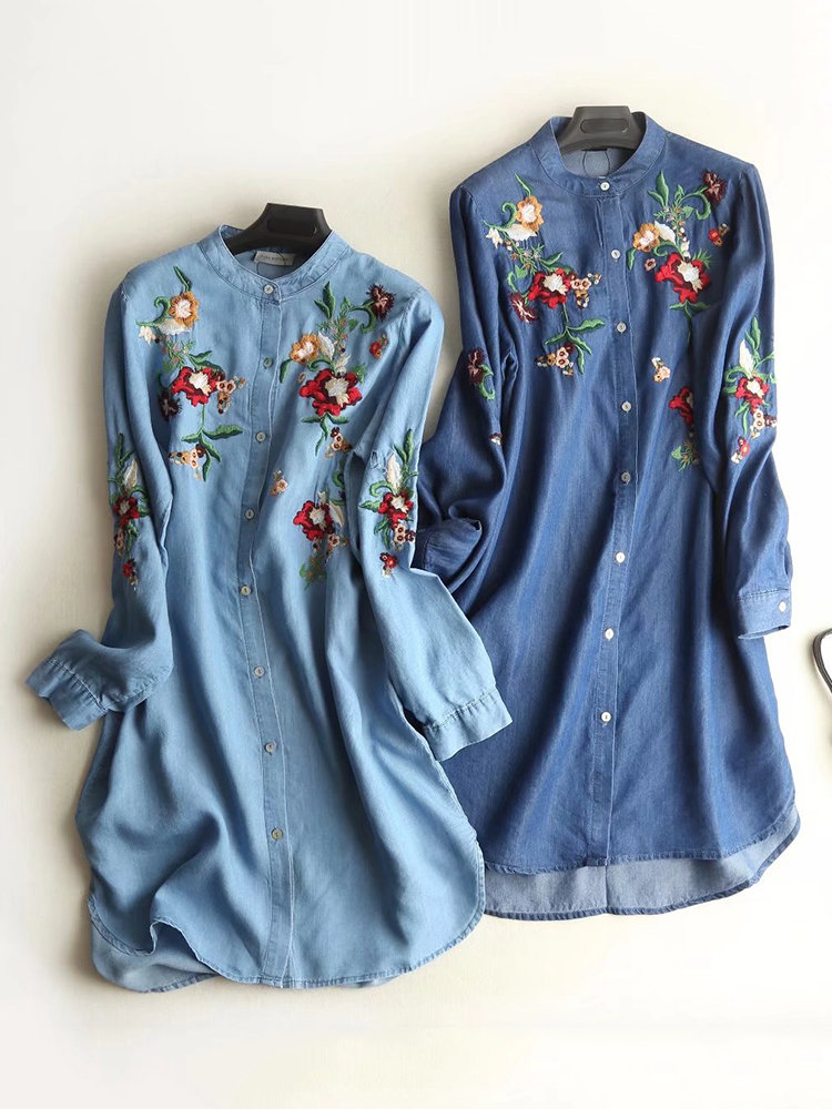 Floral Embroidered Long Sleeve Denim Shirt Dresses