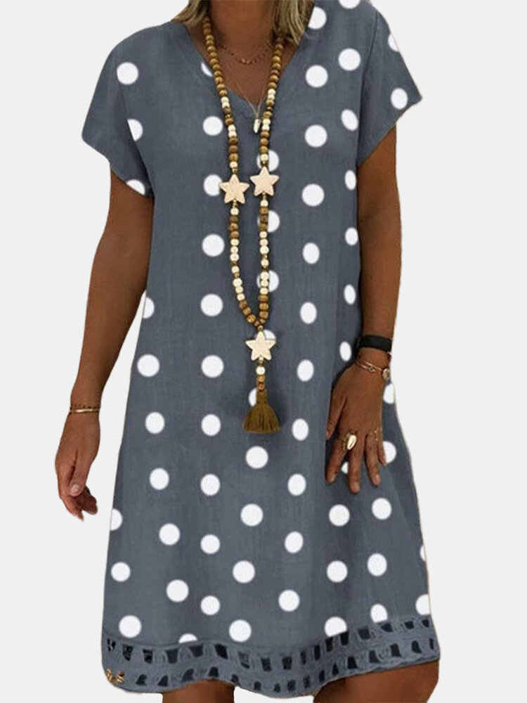 Bohemian Polka Dot Printed V-neck Short Sleeve Midi Dress