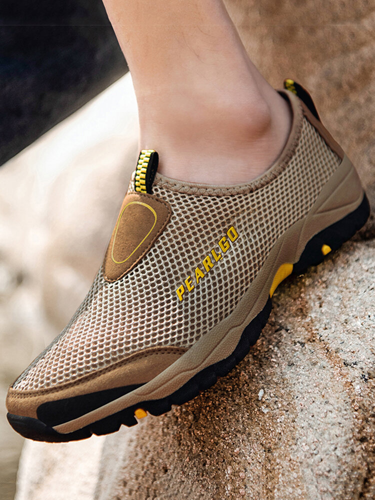Men Breathable Mesh Non Slip Outdoor Casual Slip On Shoes
