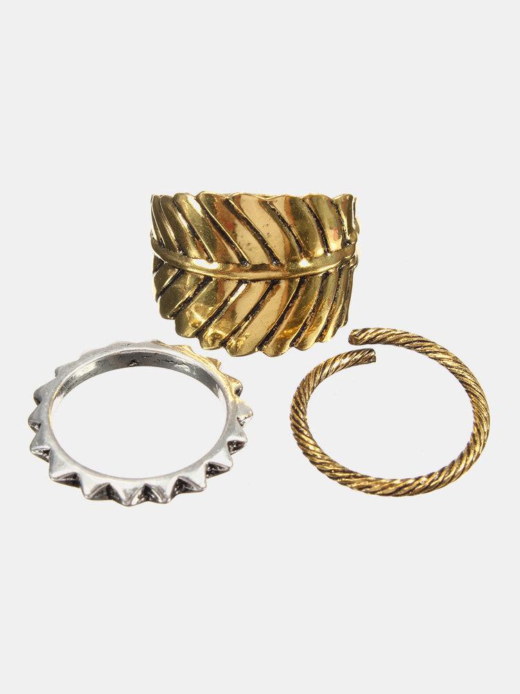 3Pcs Vintage Bronze Leaf Unique Rings