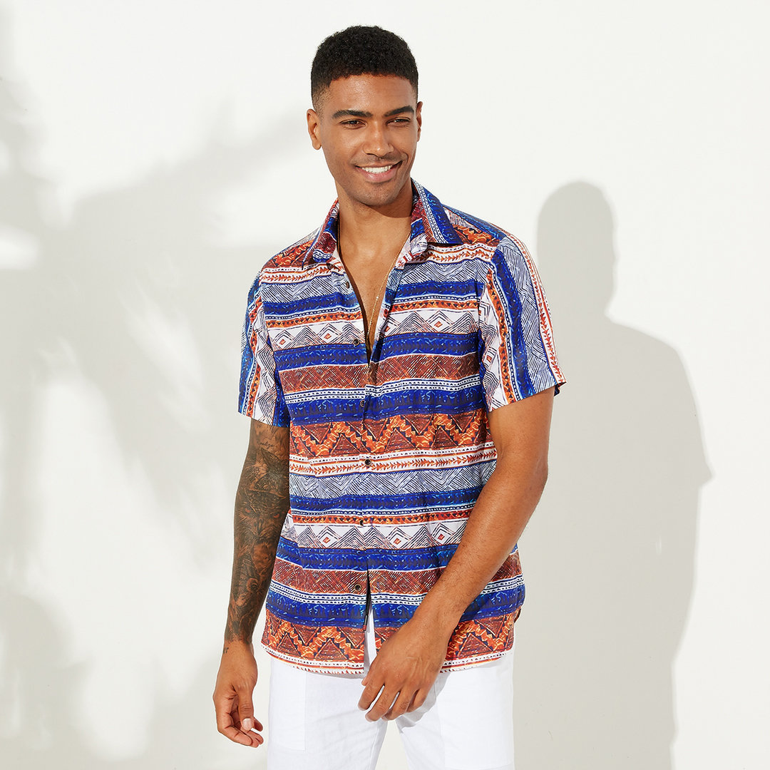 Mens Ethnic Style Striped Printing Shirt
