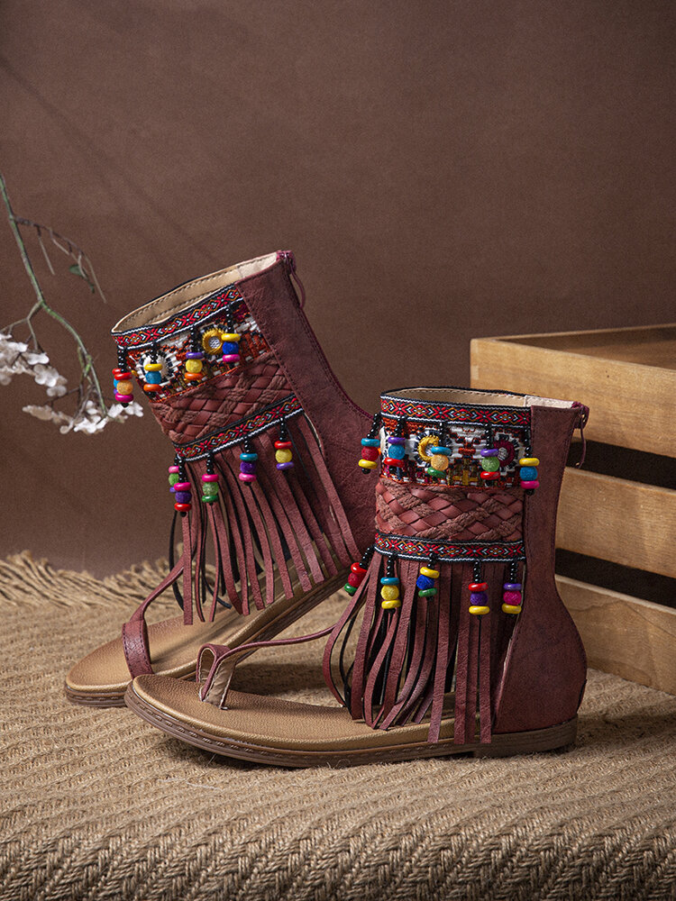 Embroidered Clip Toe Back Zipper Gladiator Sandals For Women