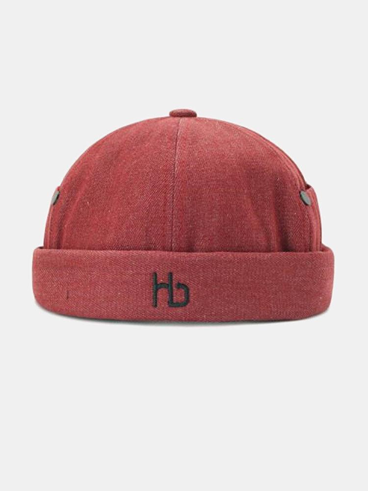 Unisex Brimless Hats Solid Color Letter Embroidery Skull Hat Hip Hop Hat