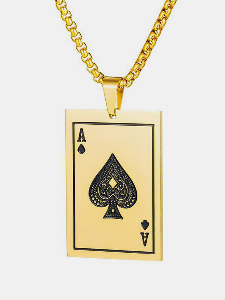 Trendy Poke Playing Card Stainless Steel Alloy Necklace Pandent