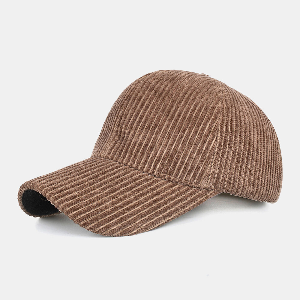Unsiex Corduroy Solid Color Stripe Pattern Casual Outdoor Winter Keep Warm Sunscreen Baseball Hat