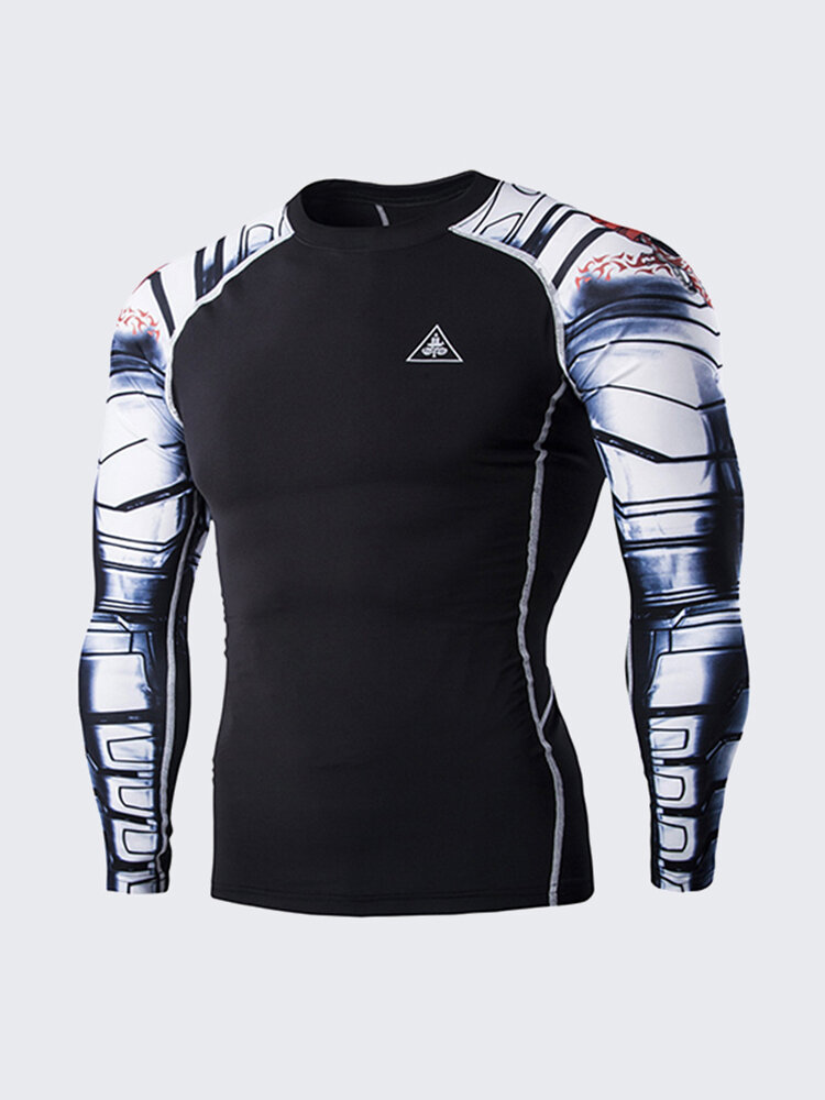Mens Quick Dry Robotic Arms Printing Training Tights Long sleeve Bodybuilding T-shirts
