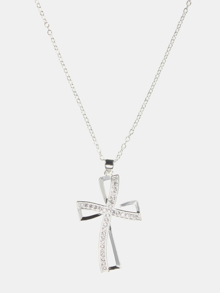 925 Silver Plated Hollow Cross Crystal Necklace Gift for Her