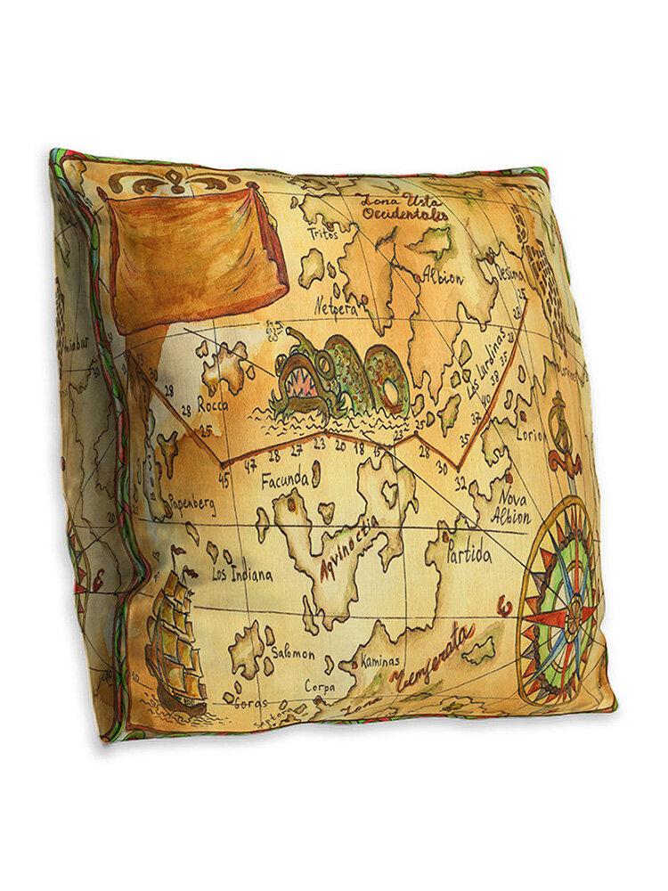 Double-sided Vintage Nautical Chart Cushion Cover Home Sofa Office Soft Throw Pillowcases Art Decor