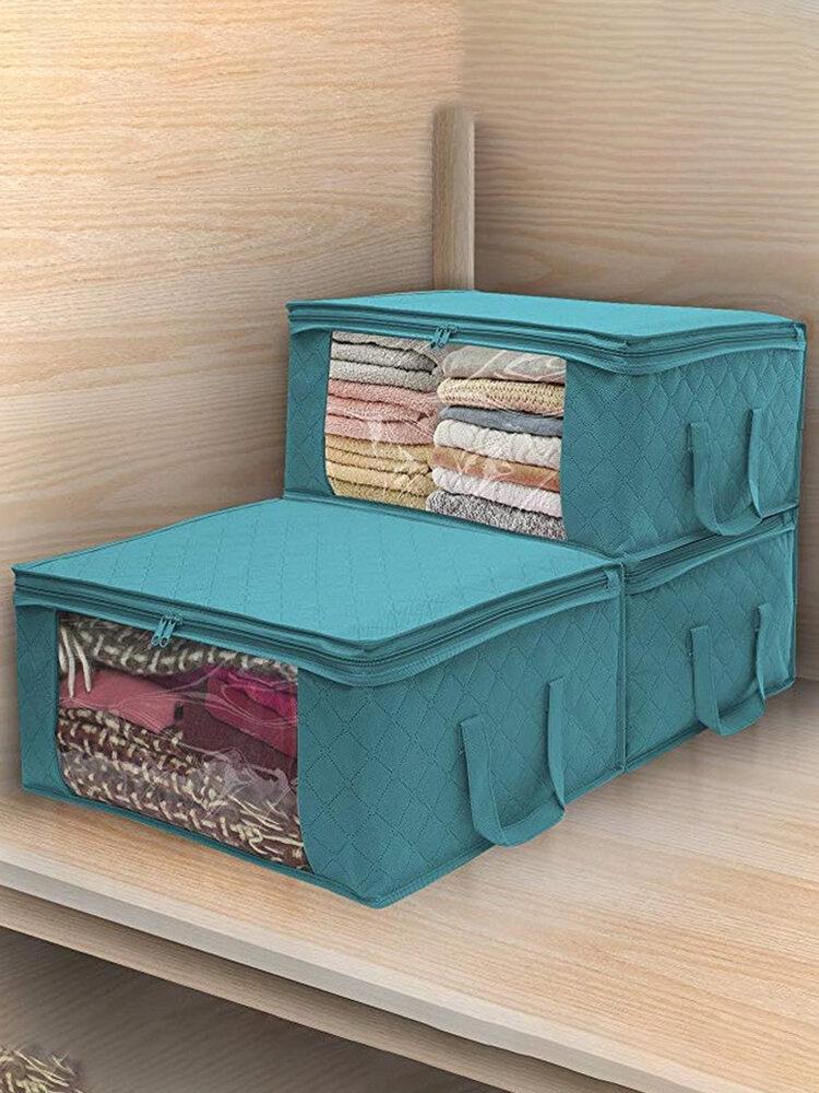 1 Pc Non-Woven Folding Storage Tote Quilt Storage Bag Storage Clothes Dustproof Clothes Storage Containers