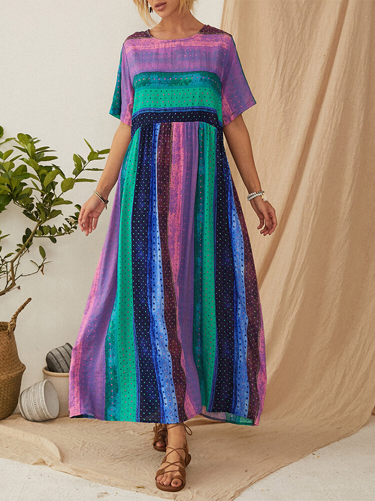 Bohemian Striped Patchwork Print Empire Taille Plus Größe Maxi Kleid