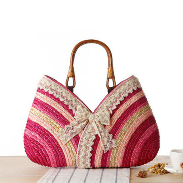 Lace Stylish Travel Cute Straw Beach Bags For Women