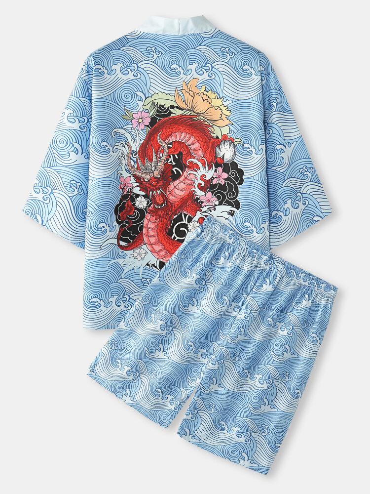 メンズドラゴンウェーブプリントオープンフロント着物和風ツーピース衣装
