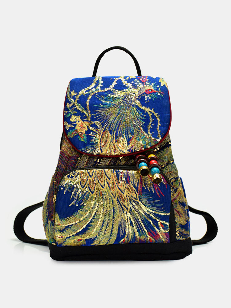 Women Ethnic Pattern Sequined Embroidered Peacock Backpack