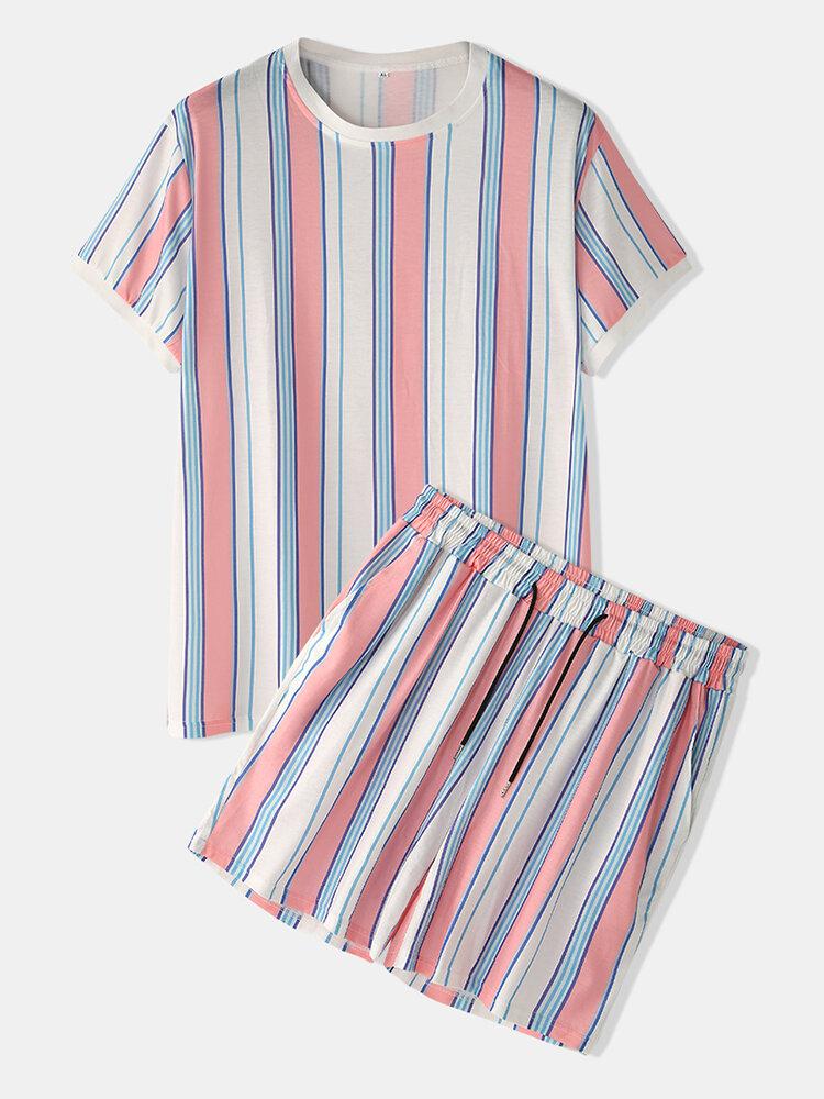 男性Colorfulストライプパジャマ半袖パジャマセットホームSoft居心地の良いラウンジウェア