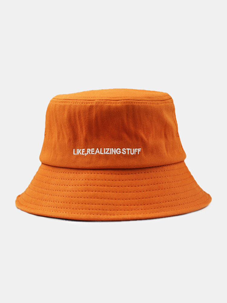 Unisex Cotton Solid Color Letter Embroidered Fashion Sunshade Bucket Hat