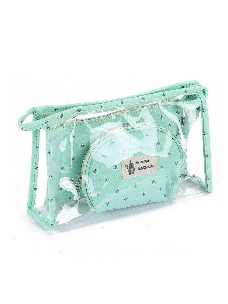 Transparente dreiteilige Kosmetiktasche aus PVC Crown Cosmetic Bag