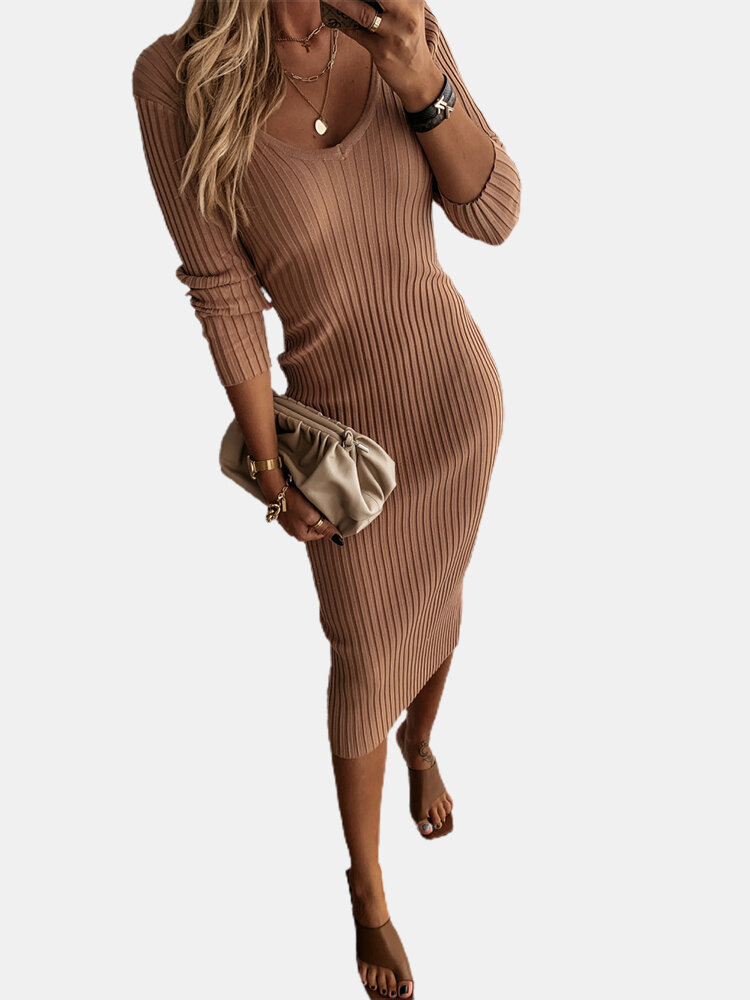 Solid Color Long Sleeve V-neck Casual Sweater Dress For Women