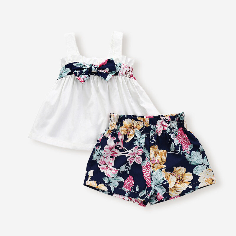 Girl's Flower Bowknot Sleeveless Vest+ Pants Casual Clothing Suit For 1-5Y