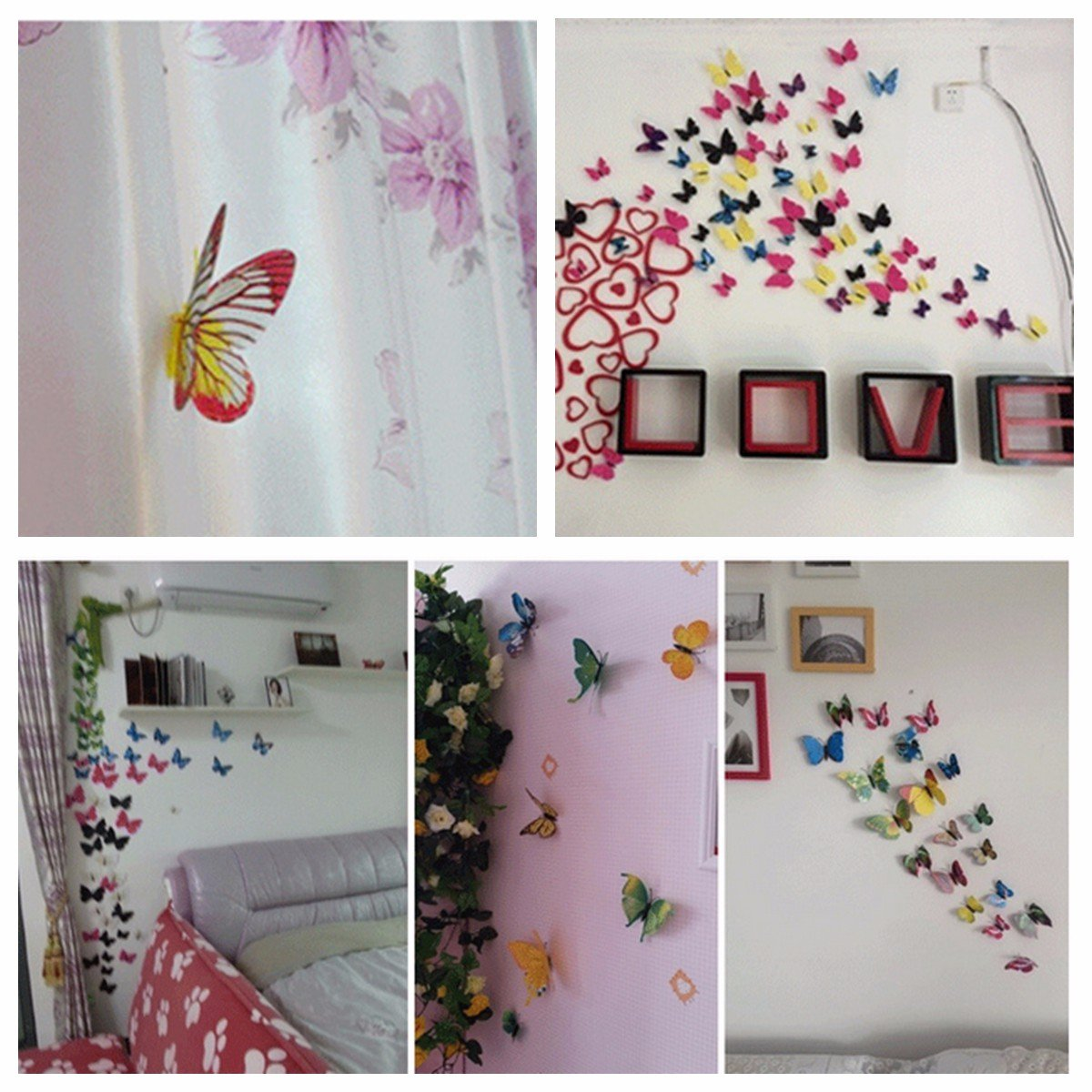 12Pcs 3D Yellow Butterfly Art Decals Wall Stickers Home Wedding Party Decoration
