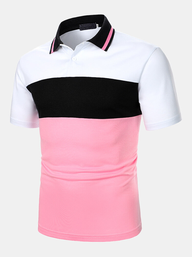 Mens Color Block Panel Stitching Casual Short Sleeve Golf Shirts