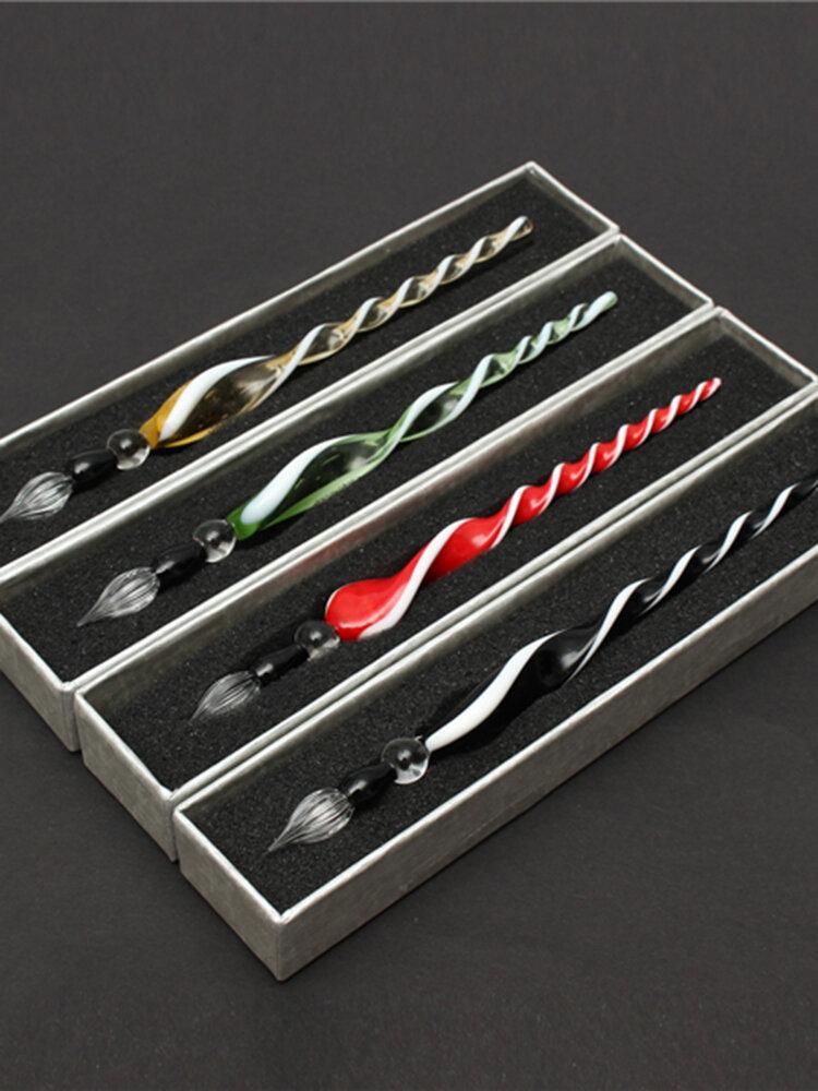 7「ヴィンテージ手作りガラス署名ペンエレガントなクリスタルディップサインペンギフト