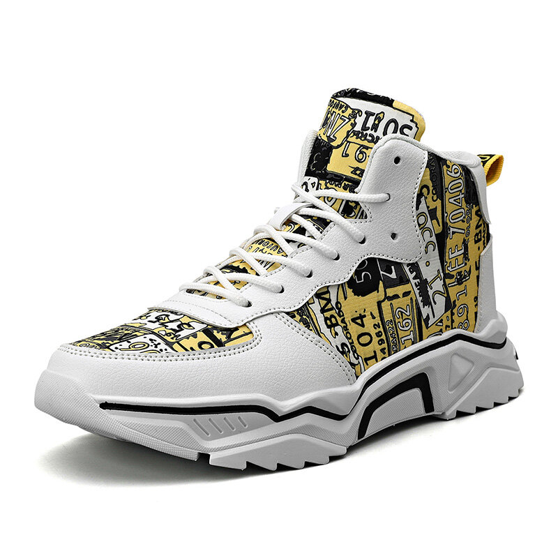 Men Printed High Top Lace Up Sport Casual Sneakers