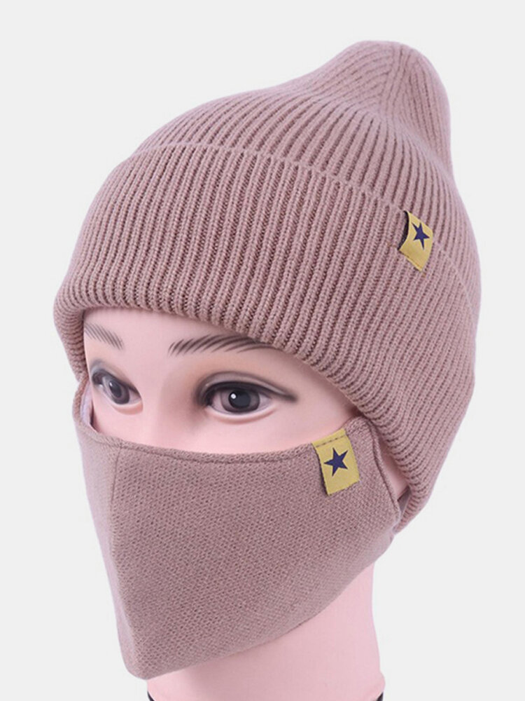 Women Wool 2PCS Winter Outdoor Warm Neck Face Protection Knitted Hat Beanie Mask