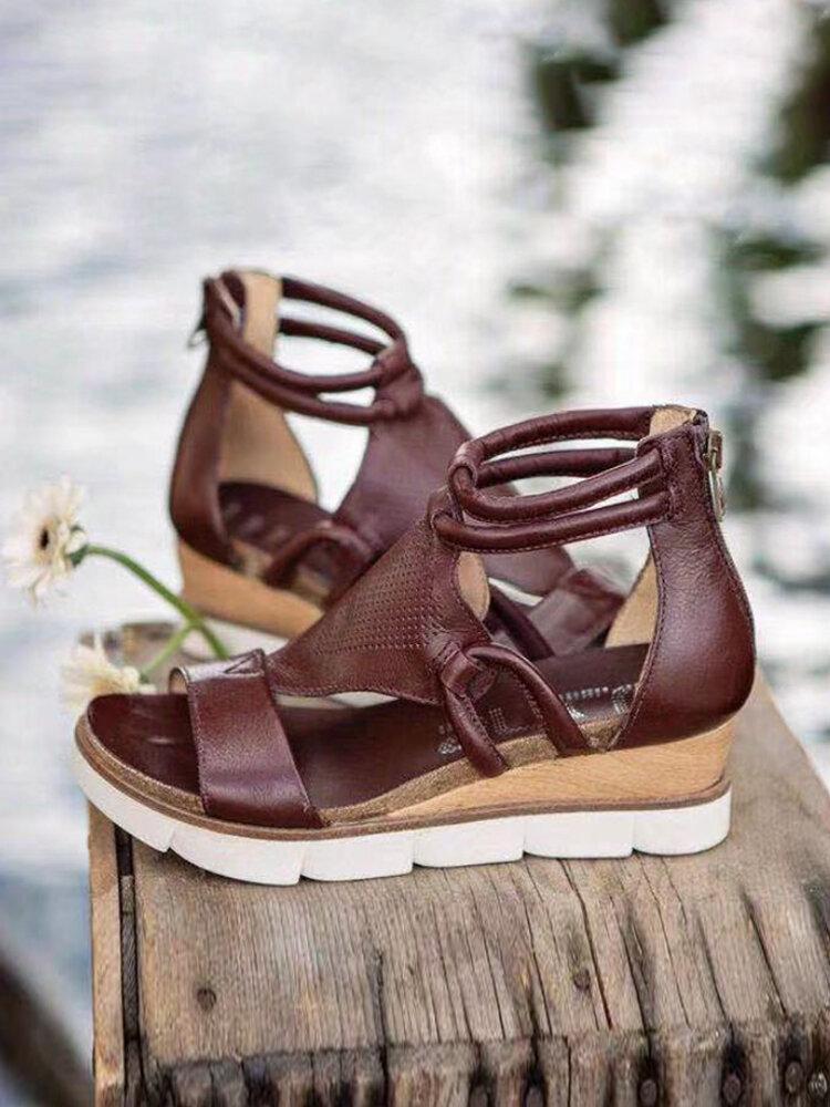 Большой размер Женское Повседневная обувь с открытым носком, однотонная застежка-молния сзади Сандалии