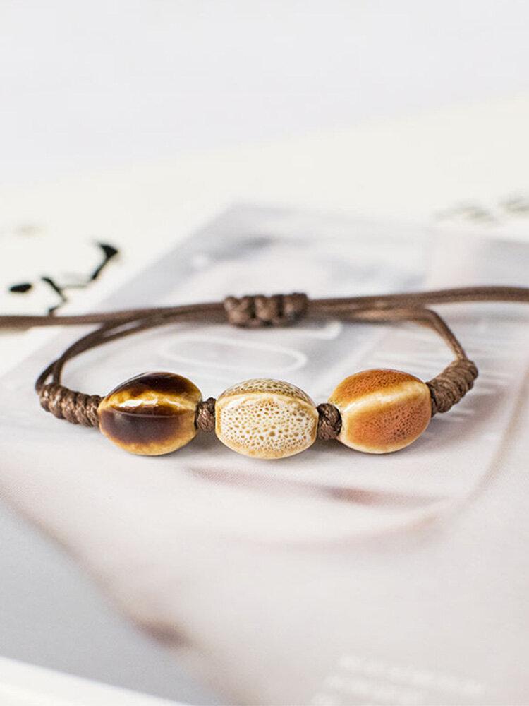 Vintage Ethnic Geometric-shape Beaded Braided Ceramics Wax Rope Bracelets