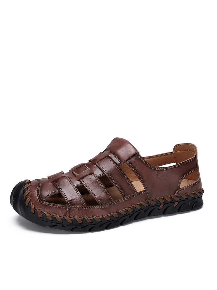 Men Closed Toe Hand Stitching Cowhide Leather Casual Outdoor Sandals