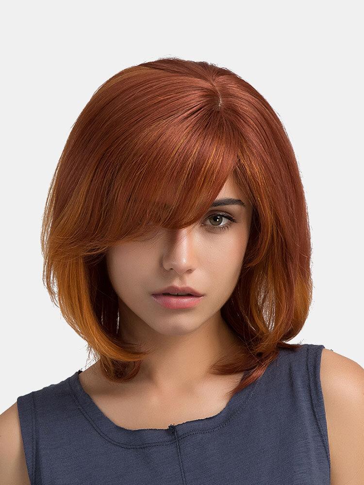 36 cm arancione corto dritto Bob Virgin Remy Lato Bang Mono Top senza cappuccio umano Capelli Parrucca